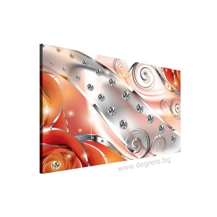 Картина Канава Оранжев флорален диамант 3D L