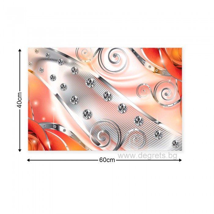 Картина Канава Оранжев флорален диамант 3D S