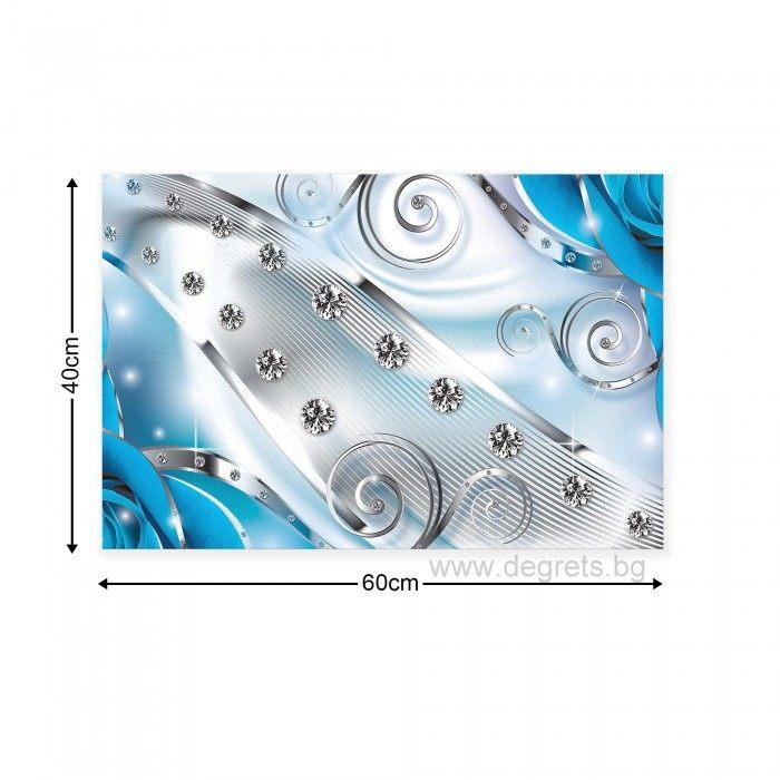 Картина Канава Син флорален диамант 3D S