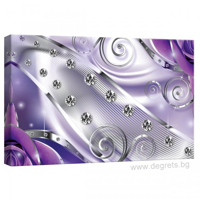 Картина Канава Лилав флорален диамант 3D S