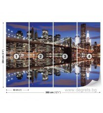 Фототапет Бруклински мост нощ XL