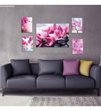 Картина Канава Лилави орхидеи 2 3D Сет 5 части