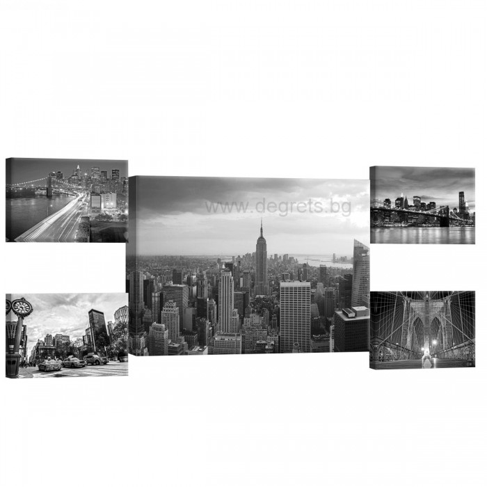 Картина Канава Ню Йорк черно - бял 2 Сет 5 части