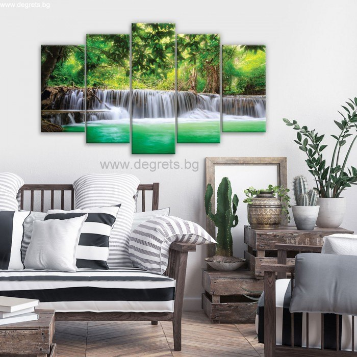 Картина Канава Водопад в Тайланд - Сет 5 части