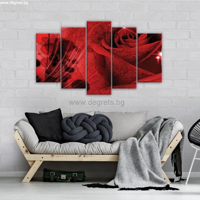 Картина Канава Роза 3D абстракция Сет 5 части