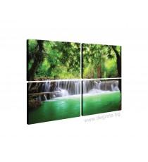 Картина Канава Водопад в Тайланд Сет 4 части
