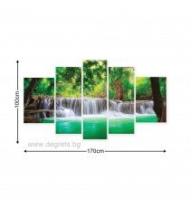 Картина Канава Водопад в Тайланд  Сет 5 части