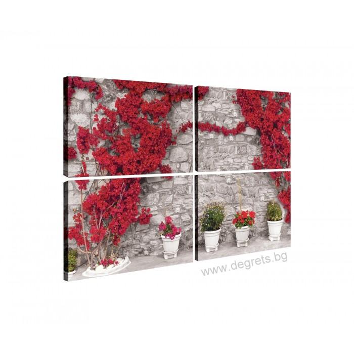 Картина Канава Стена с червени цветя 1 Сет 4 части