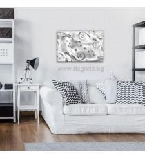 Картина Канава Бял флорален диамант 3D S