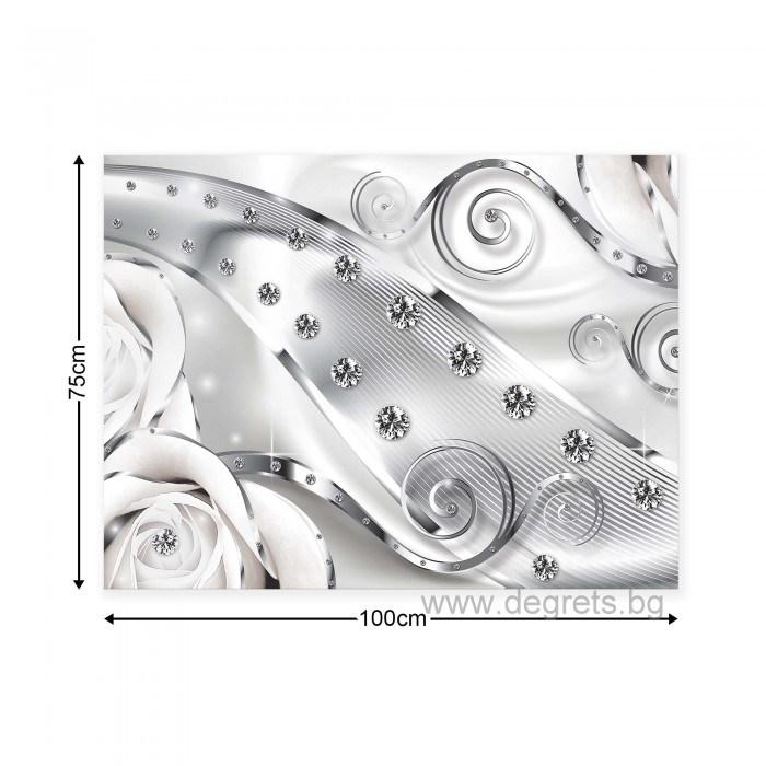 Картина Канава Бял флорален диамант 3D L