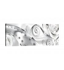 Картина Канава Бял флорален диамант 3D XL
