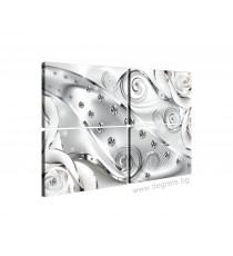 Картина Канава Бял флорален диамант 3D Сет 4 части