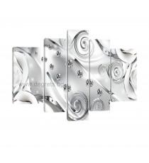 Картина Канава Бял флорален диамант 3D Сет 5 части