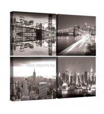 Картина Канава Ню Йорк черно - бял 1 Сет 4 части