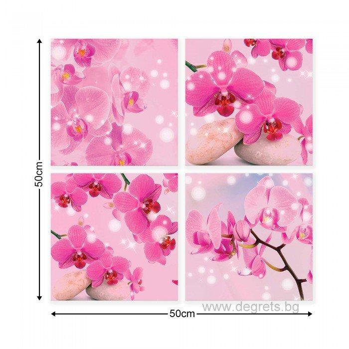 Картина Канава Лилави орхидеи 1 3D Сет 4 части