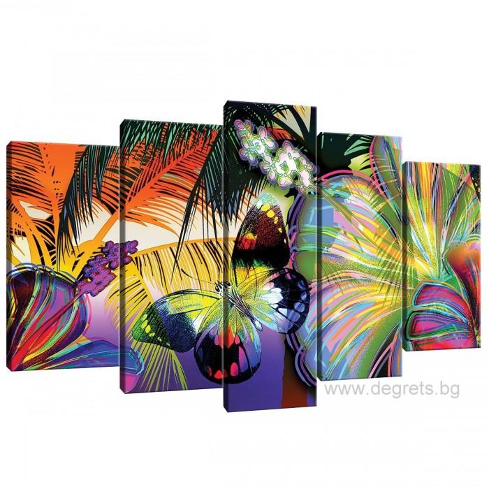 Картина Канава Цветна пеперуда Сет 5 части