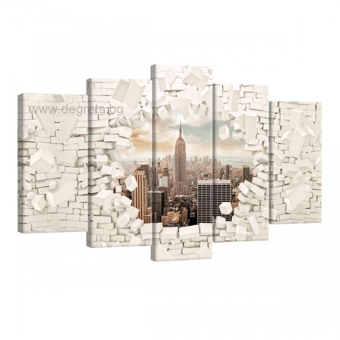 Картина Канава Ню Йорк 3D стена Сет 5 части