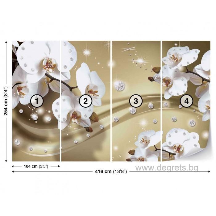 Фототапет флис Абстракция Орхидеи 5 3D 2XL