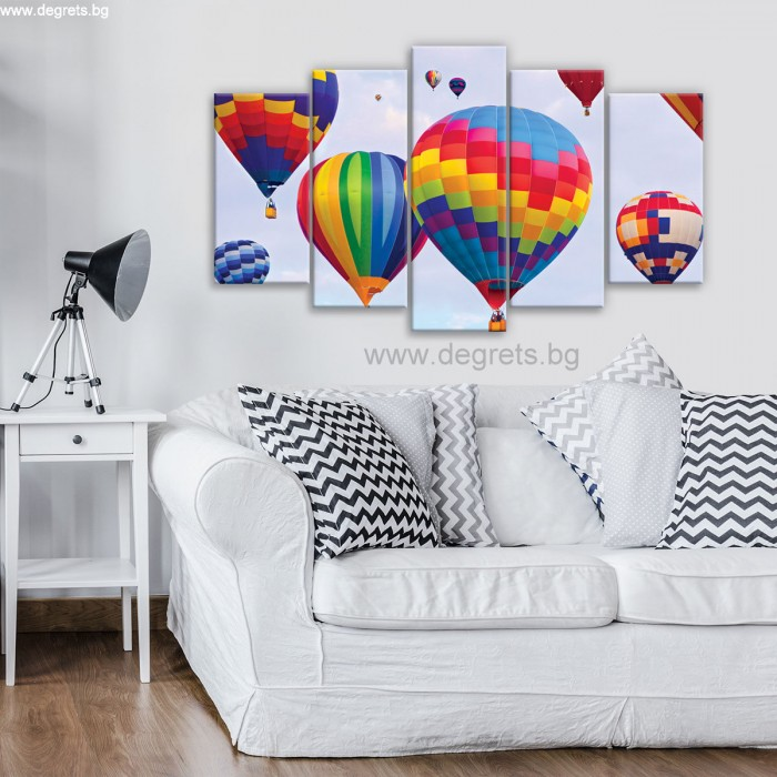 Картина Канава Цветни балони Сет 5 части