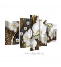 Картина Канава Абстракция Орхидеи 8 3D Сет 5 части