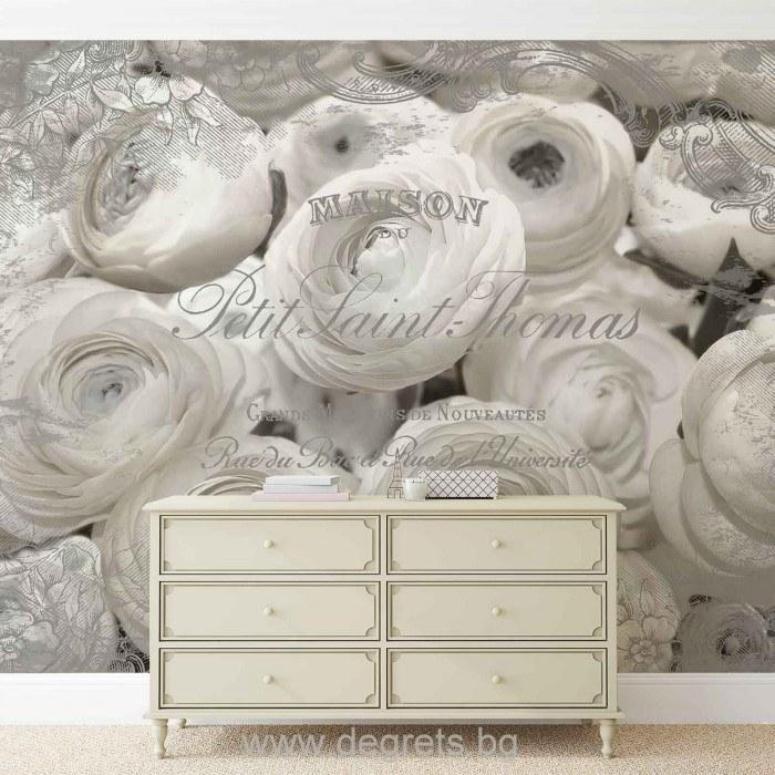 Фототапет Бели рози - винтидж 3D
