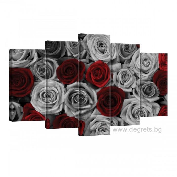 Картина Канава Рози червено - сиви - Сет 5 части