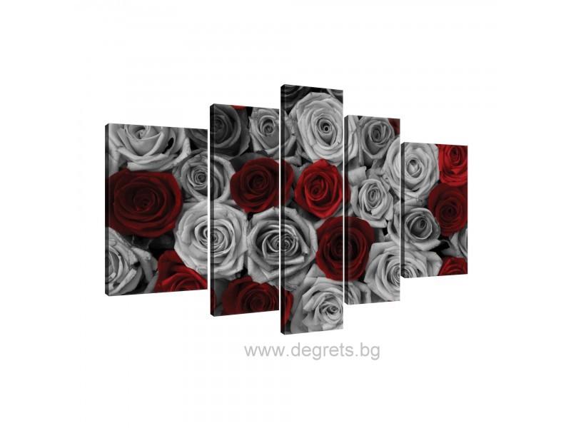 Картина Канава Рози червено - сиви Сет 5 части