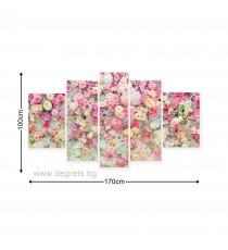 Картина Канава Стена от цветя 3D Сет 5 части