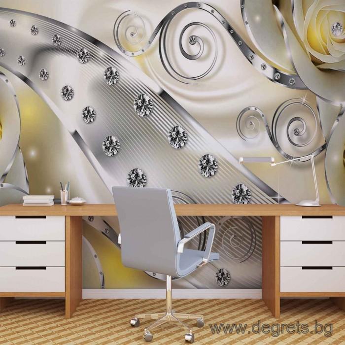 Фототапет Жълт флорален диамант 3D L