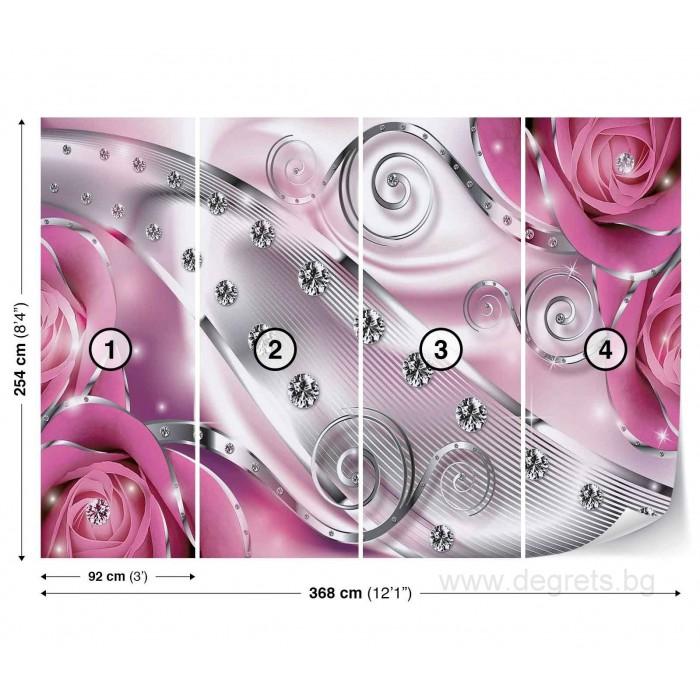 Фототапет Розов флорален диамант 3D XL