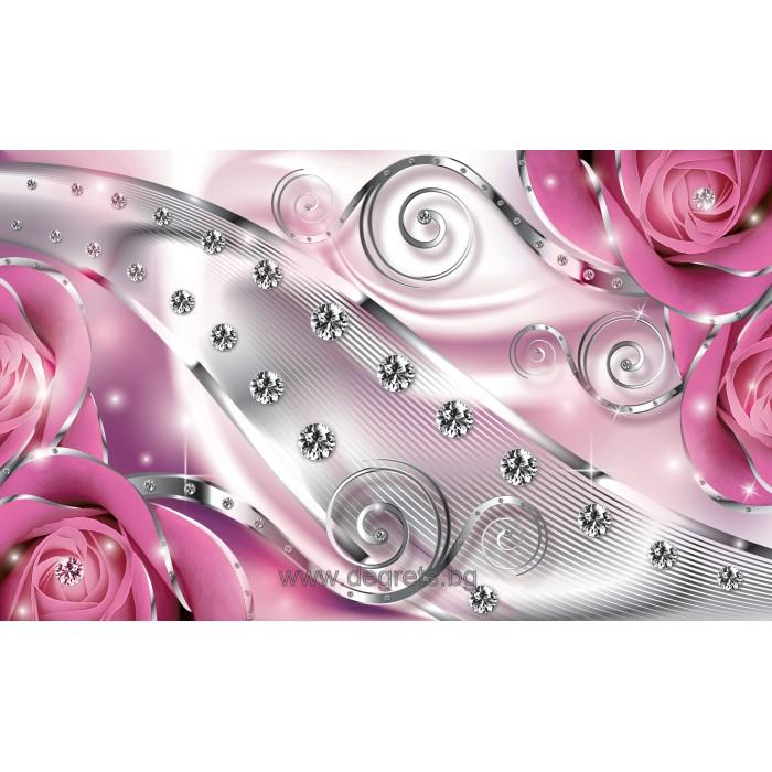 Фототапет Розов флорален диамант 3D L