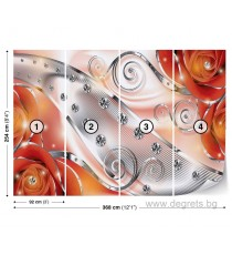 Фототапет Оранжев флорален диамант 3D XL