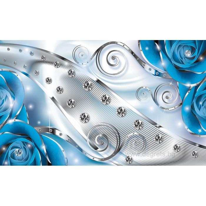Фототапет Син флорален диамант 3D