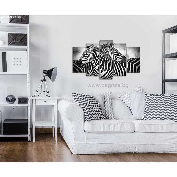 Картина Канава Зебри черно-бели Сет 5 части