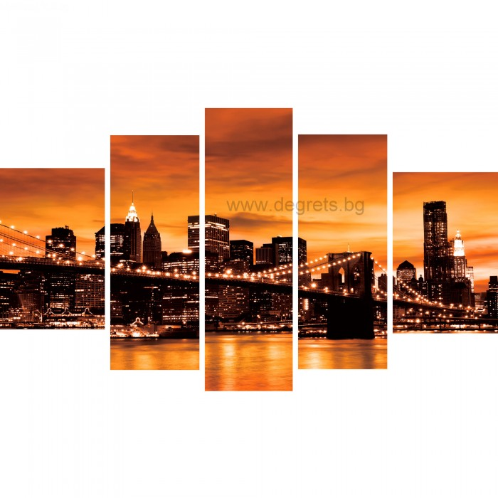 Картина Канава Бруклински мост сепия Сет 5 части