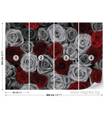 Фототапет Рози червено-сиви XL