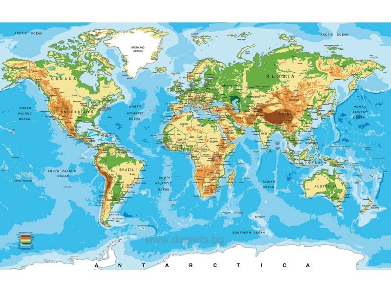 Стикер Карта на света 65x90см