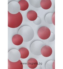 Тапет дуплекс Кръг 3D бял-червен