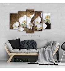 Картина Канава Орхидея бяла Сет 5 части
