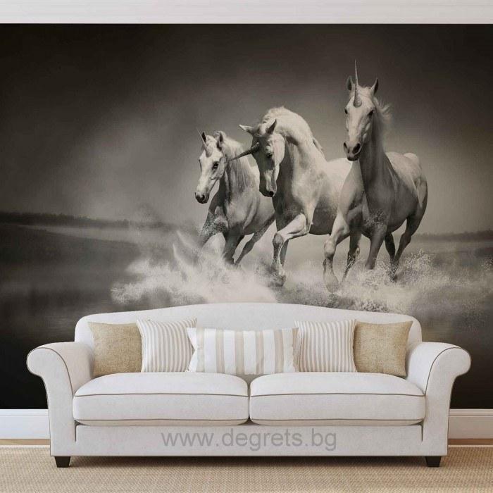 Фототапет Еднорози черно-бели