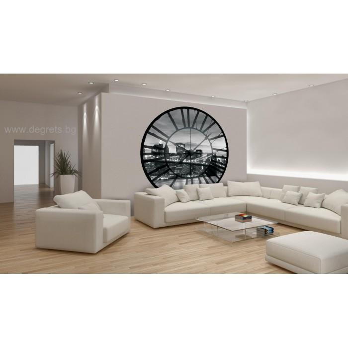 Фототапет флис Часовник Ню Йорк черно - бял