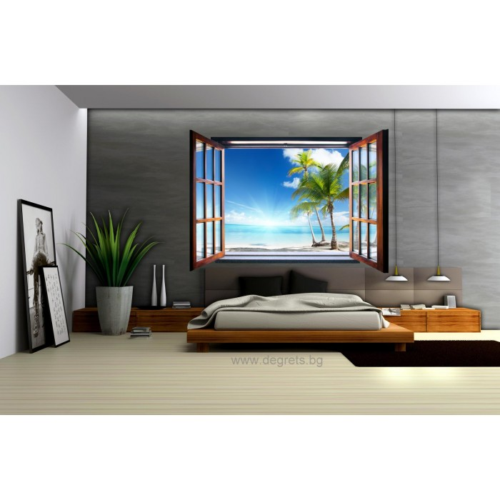 Фототапет флис Хаваи 3D прозорец