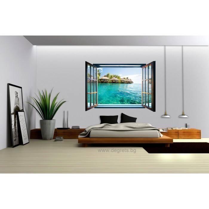 Фототапет флис Кариби 3D прозорец