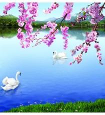 Фототапет Лебеди в езерото