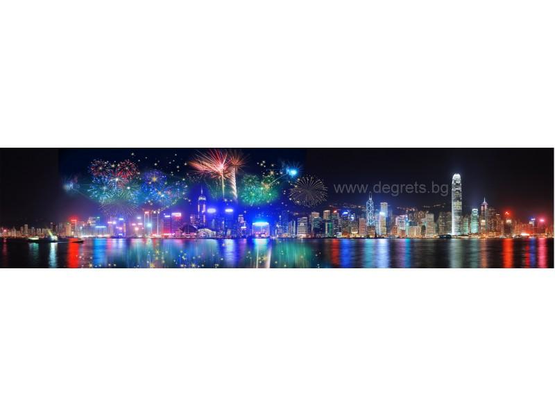 Пано Заря над Ню Йорк 1 със златист 3D ефект
