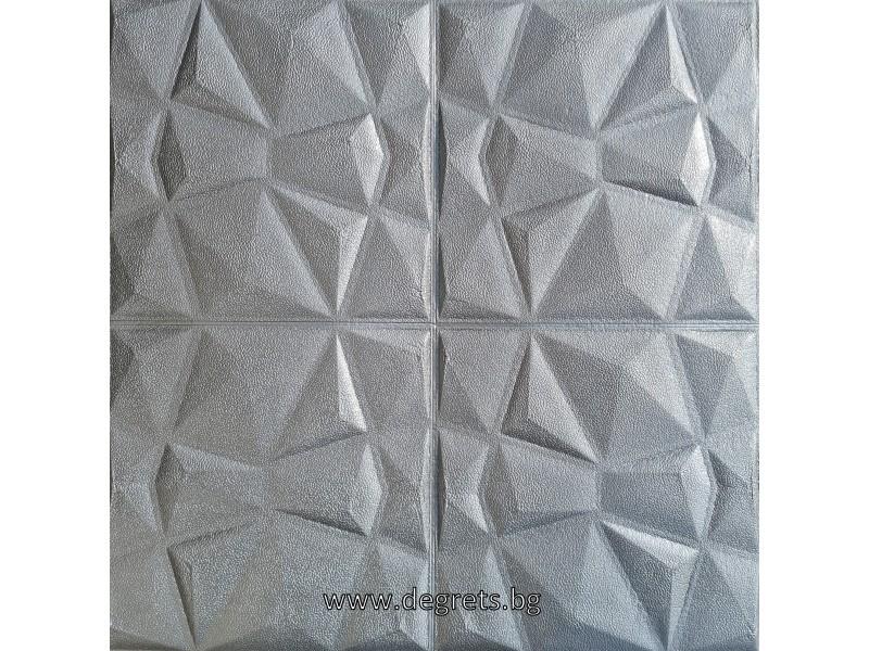 Самозалепващ 3D тапет сребро Кожа