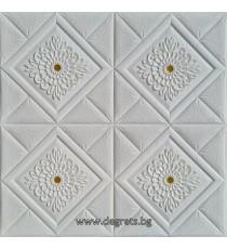 Самозалепващ 3D тапет бял-злато Декор