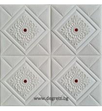 Самозалепващ 3D тапет бял-червен Декор