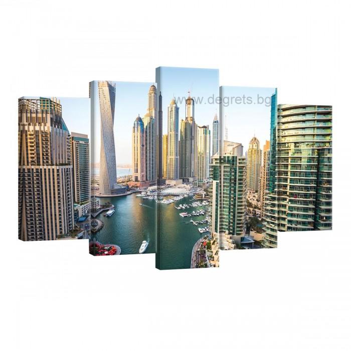 Картина Канава Дубай Марина Сет 5 части