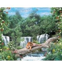 Фототапет Тигър над водопад